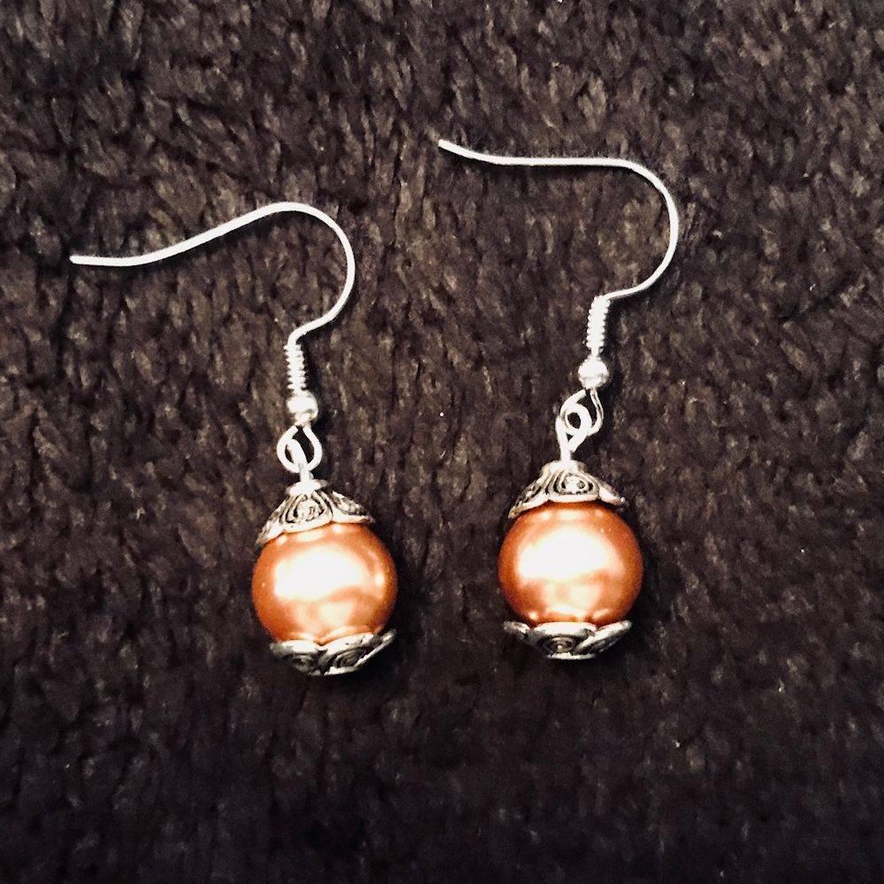 Copper Pearl Earrings Jewelry