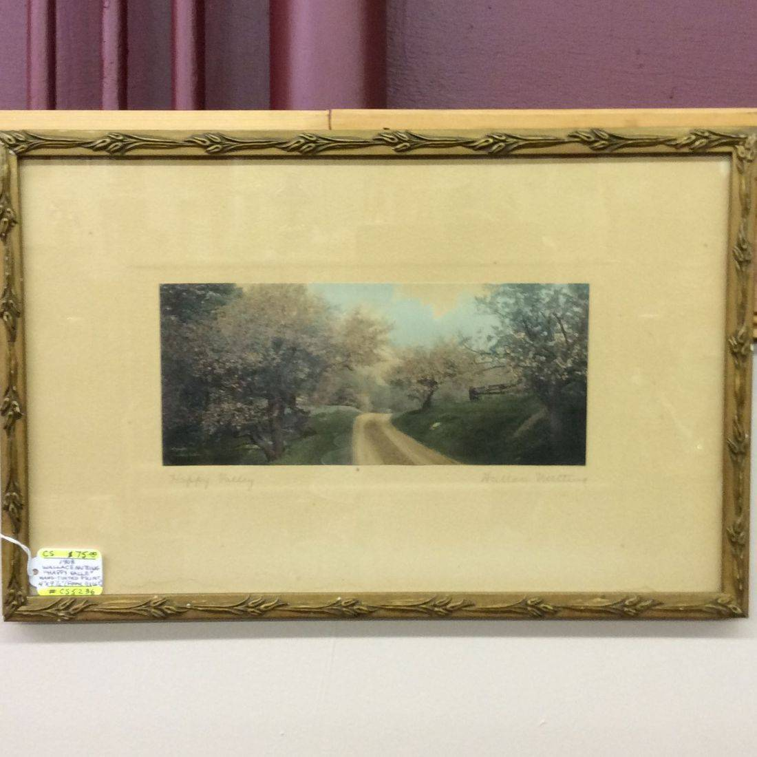 "1908 Wallace Nutting "" Happy Valley "" Hand-Tinted Print  4"" x 9-1/2"" frame: 11""x 16-1/2""   $75.00"