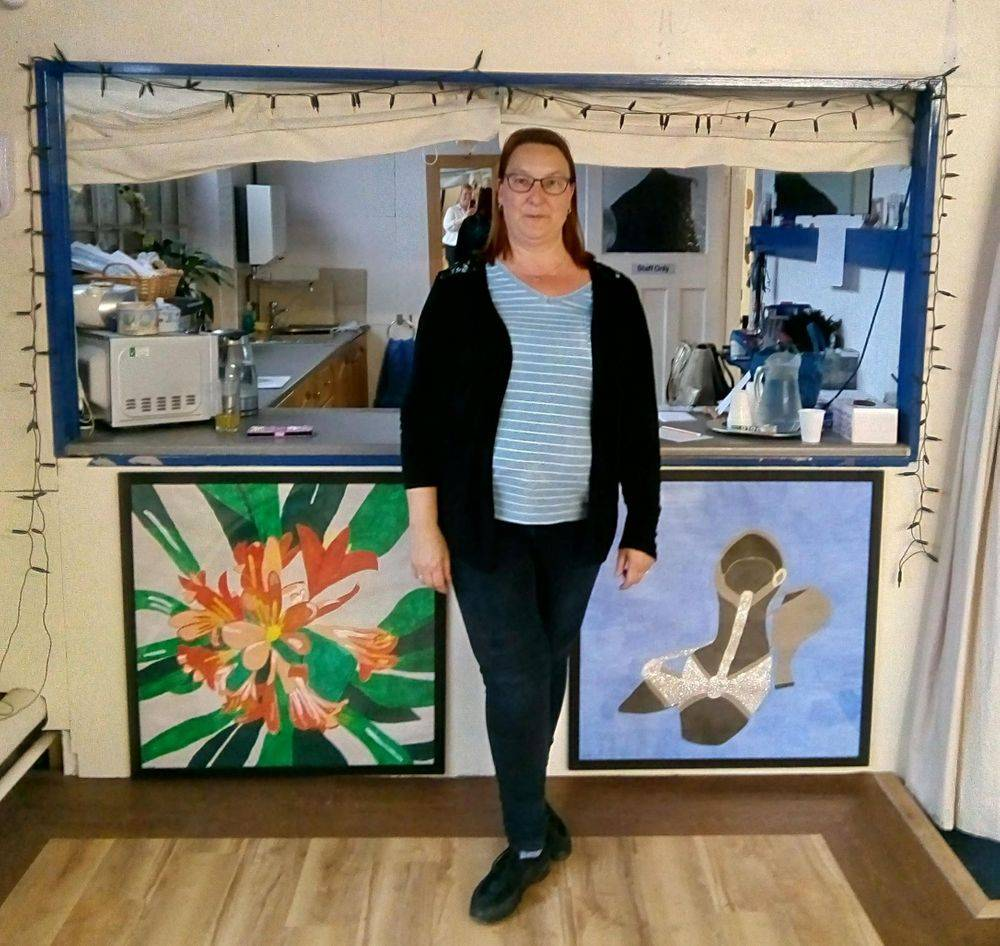 Debbie with large artwork display