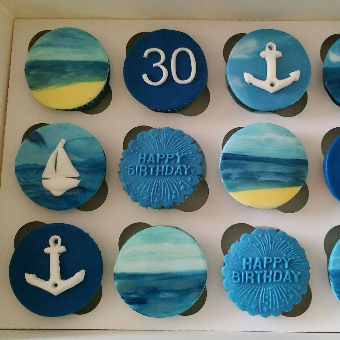 Nautical beach Themed cupcakes