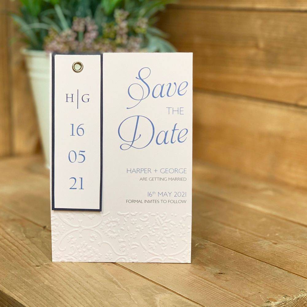 Navy Blue and Blush Pink Save the Date