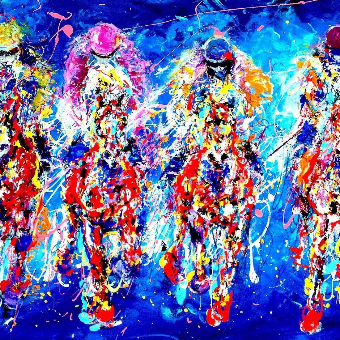 Horse racing art work by Mary Saifelden