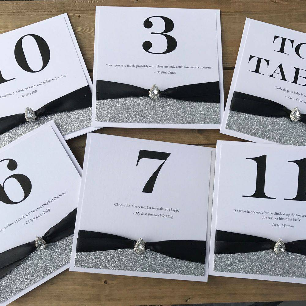 Table number  cards for weddings