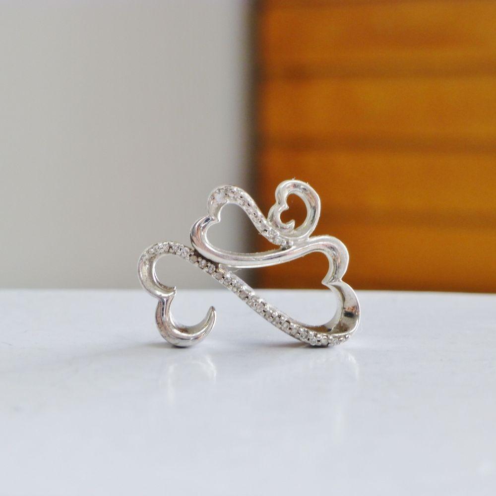 Jane Seymour Open Hearts Diamond Pendant in Sterling Silver