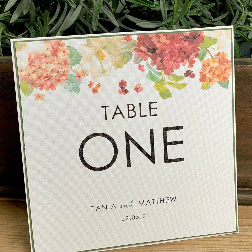 Hydrangea Tab;e number card for wedding in pinks and coral