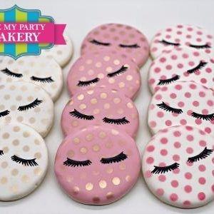 Eyelash Cookies, Esthetician Cookies, Makeup Cookies, Glam Cookies, Itz My Party Cakery