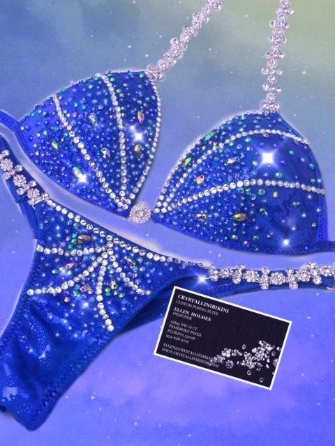 royal blue competition bikini