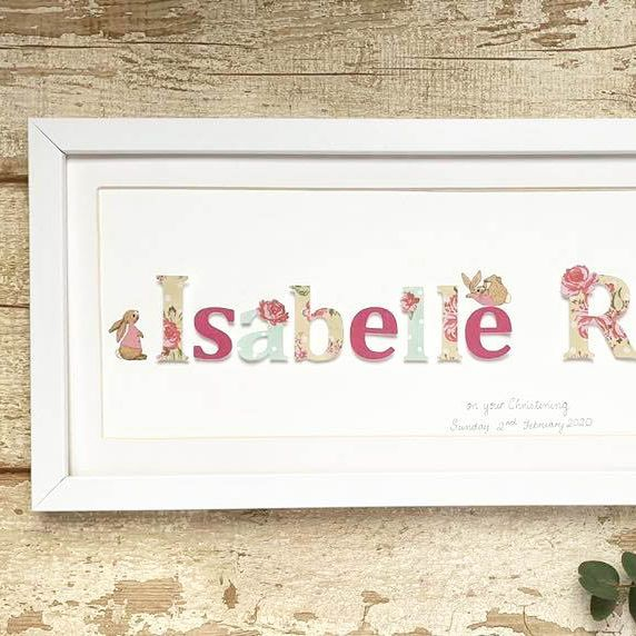 Personalised pictures, name frames, birthday, christening papercut