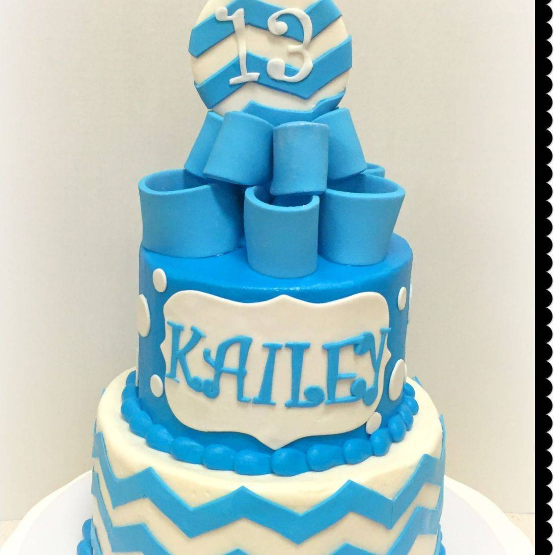 chevron blue teal birthday cake 13th birthday cake girl