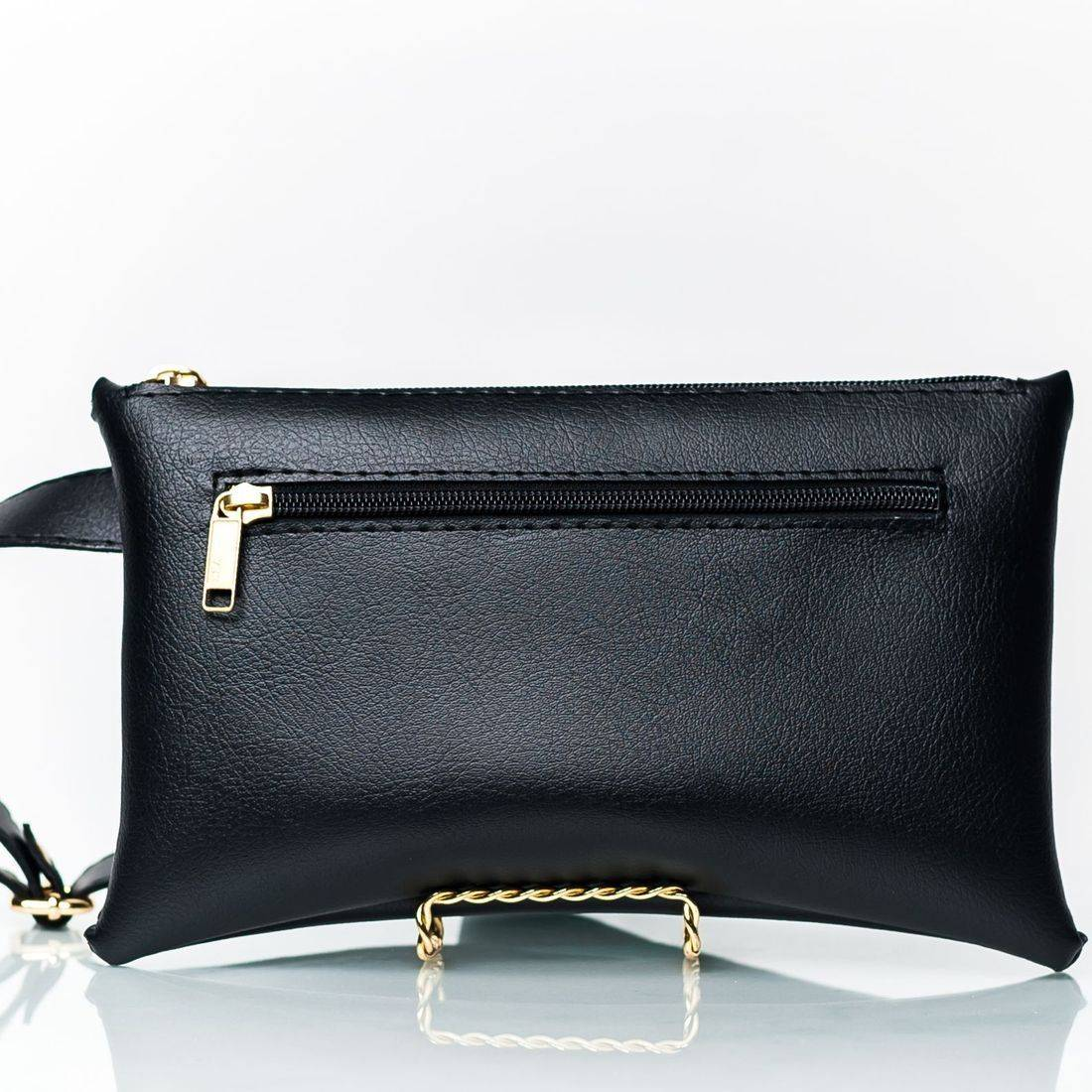 High Quality Vegan Leather Black Zippered Fanny Pack