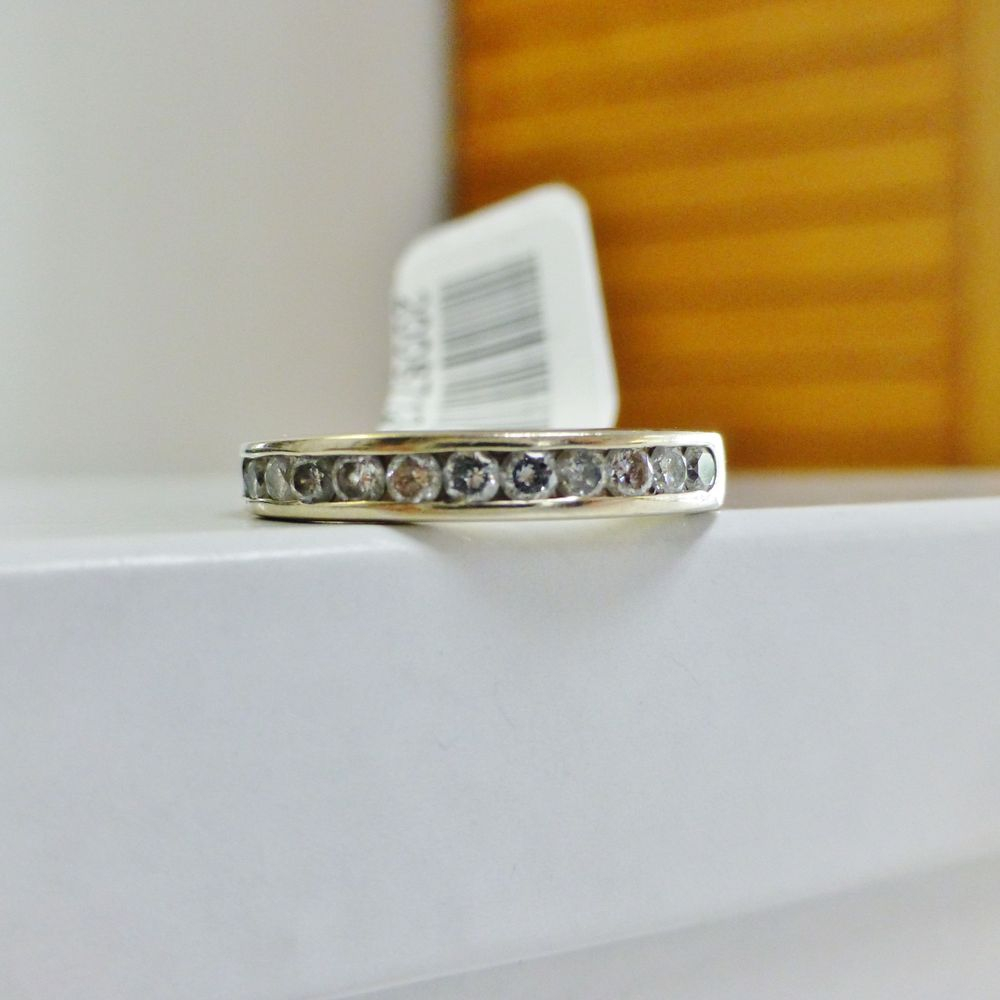 White Gold Wedding Band with Round Cut Channel Set Diamonds