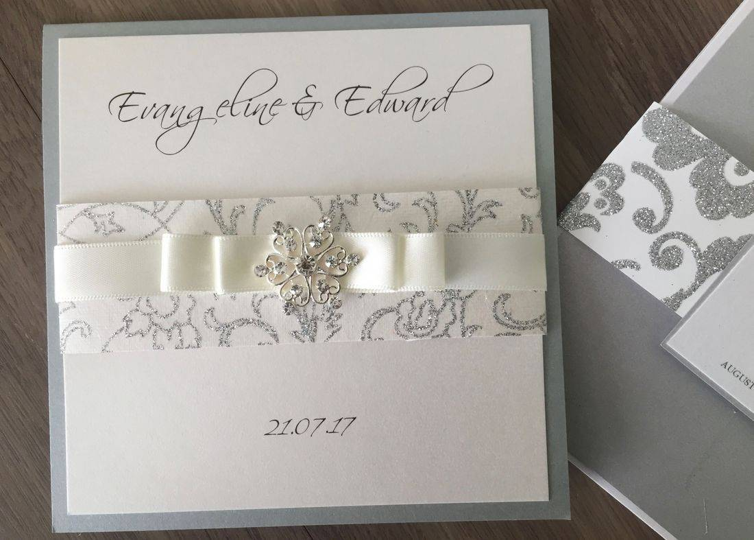 Wedding Invitation with Glitter Band and Diamante cluster