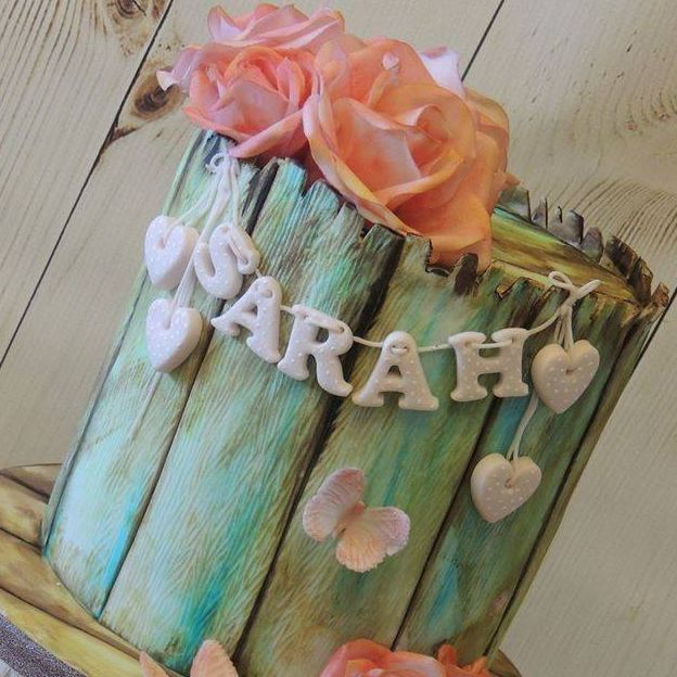 Vintage Birthday Cake Pretty Flowers Roses Wood Painted Butterflies