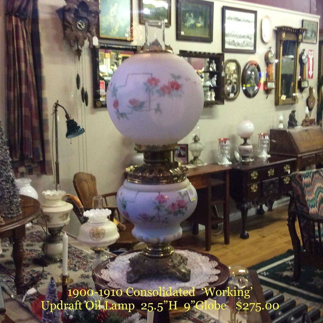 1900-1910 Consolidated 'Working' Updraft Oil Lamp   $275.00