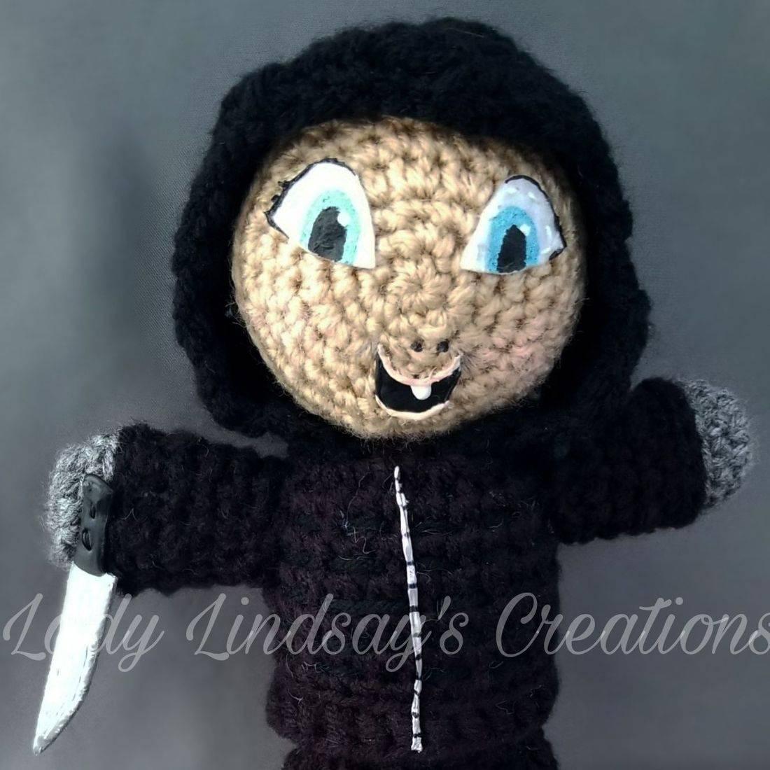 Happy Death Day, Commission, Custom, Crochet, Amigurumi, Plush, Doll, Handmade, handcrafted, craft, artisan, art, paint, Shop Small, Villain