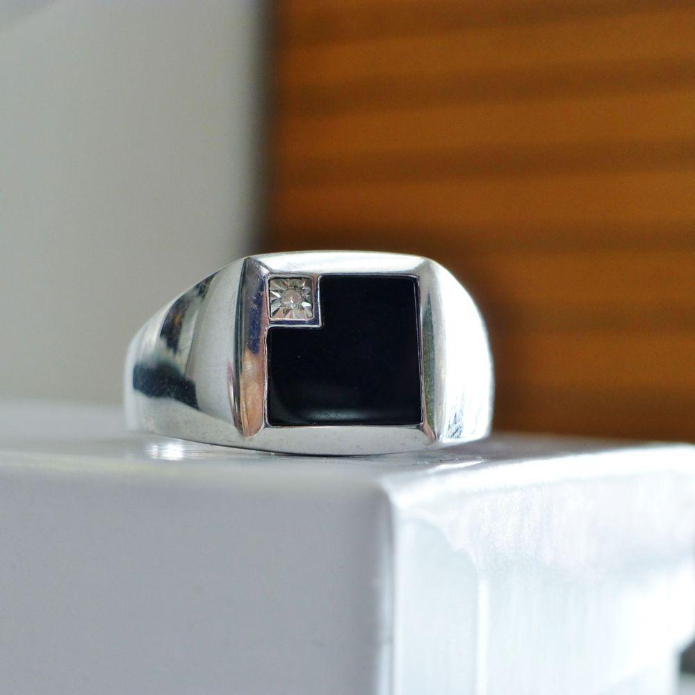 Square Black Onyx Diamond Accent Men's Ring in White Gold