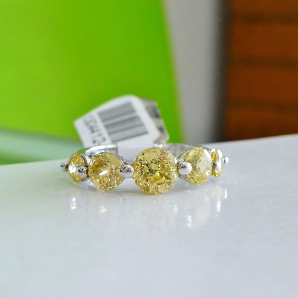Graduating Round Cut Five Stone Yellow Cubic Zirconia Sterling Silver Ring