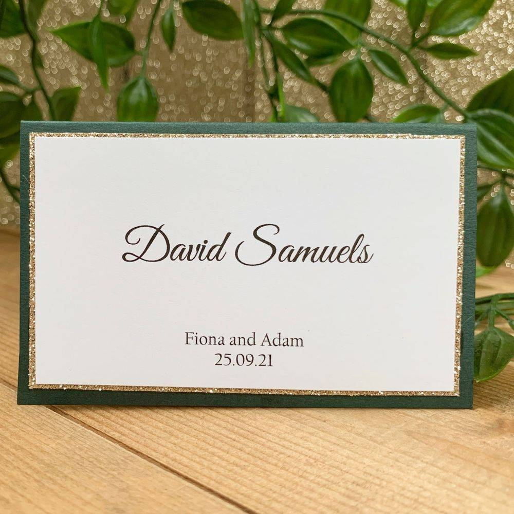 Wedding Place Names in Green and gold