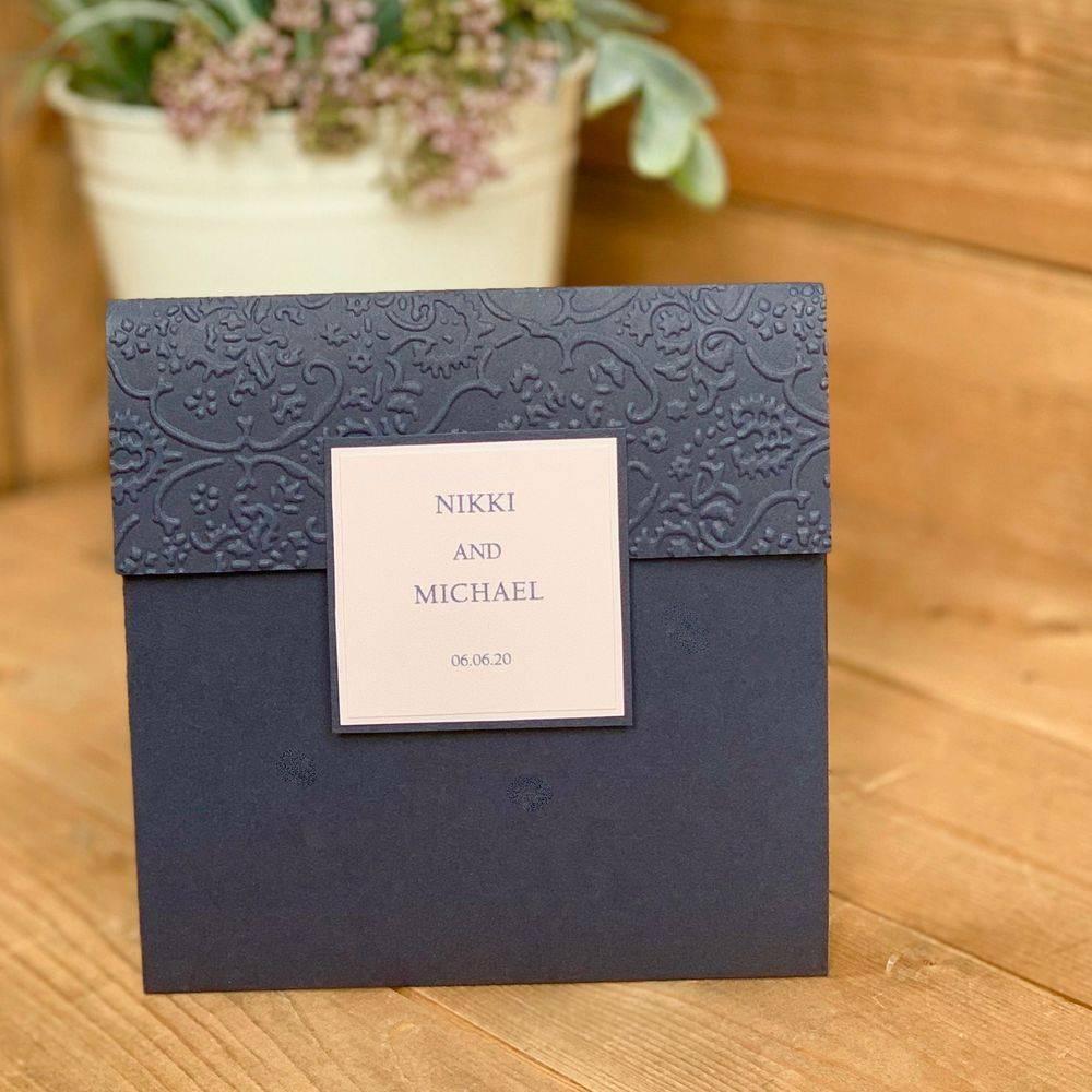 Navy Blue and Blush Pink Wedding Invitation