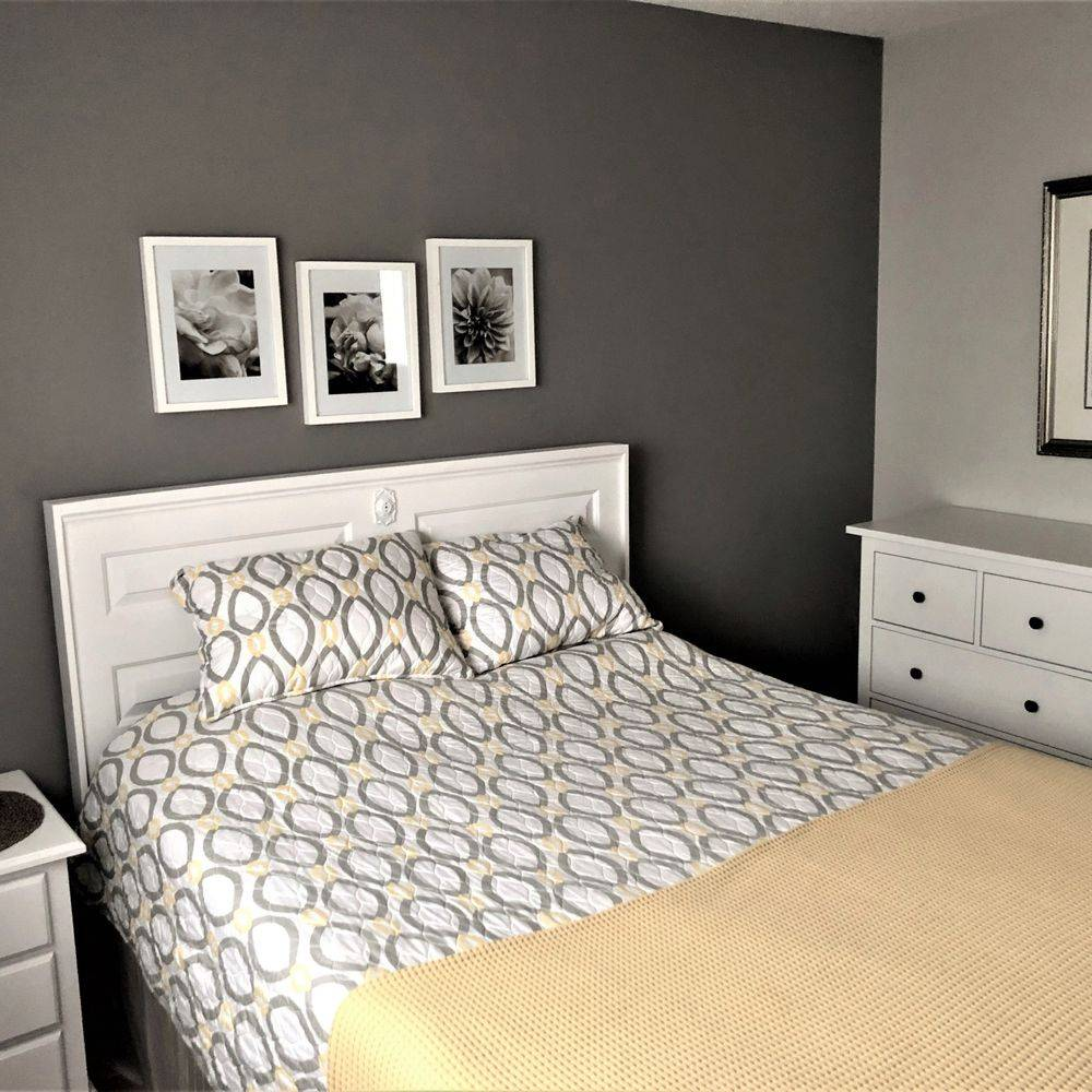 bedroom, greys, gold or yellow colour pallet