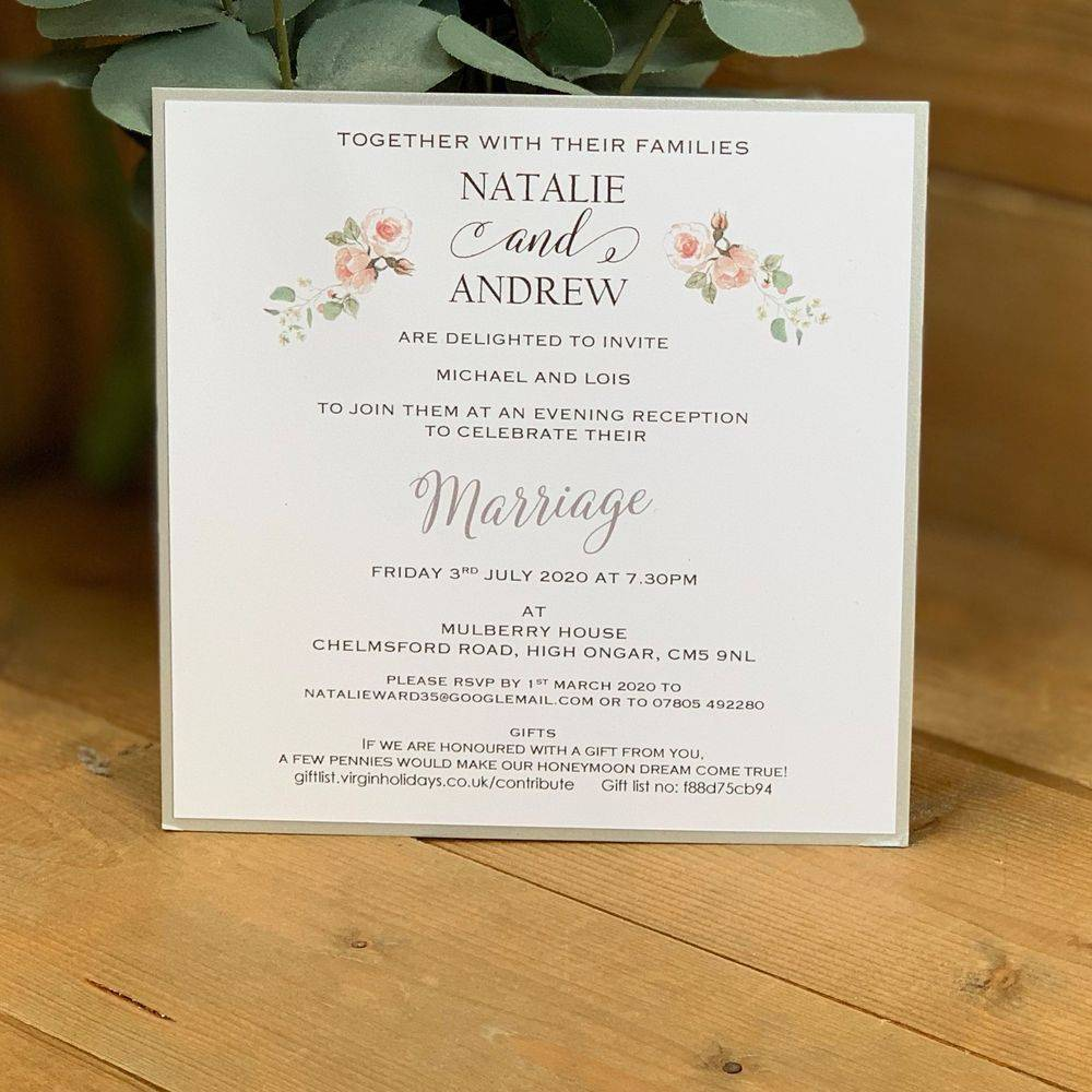 Evening Invitation in white pale pink and sage green with silver border