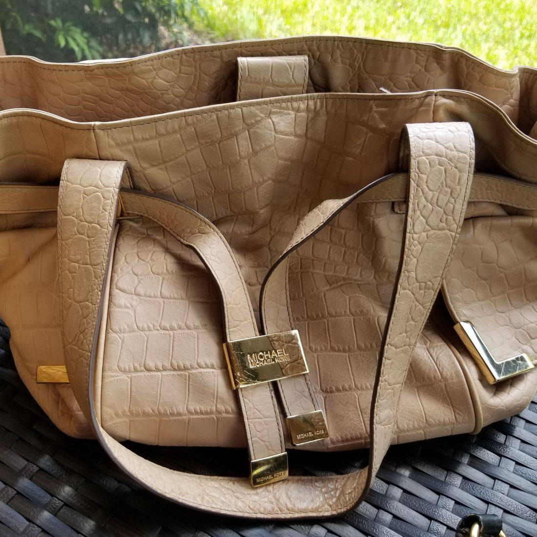 Tan Michael Kors Medium size over shoulder
