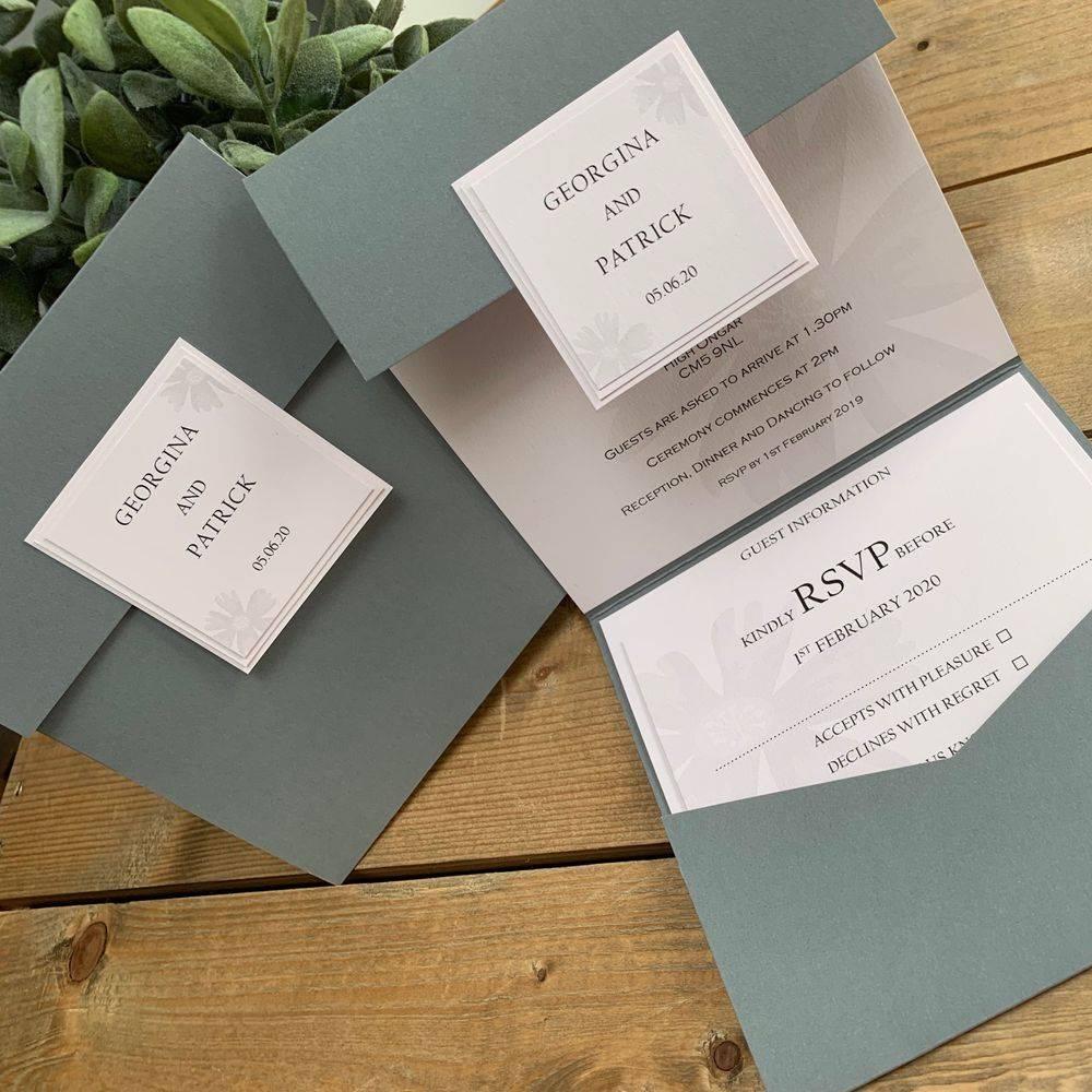 Pocket Wedding Invitation Ivory and Purple