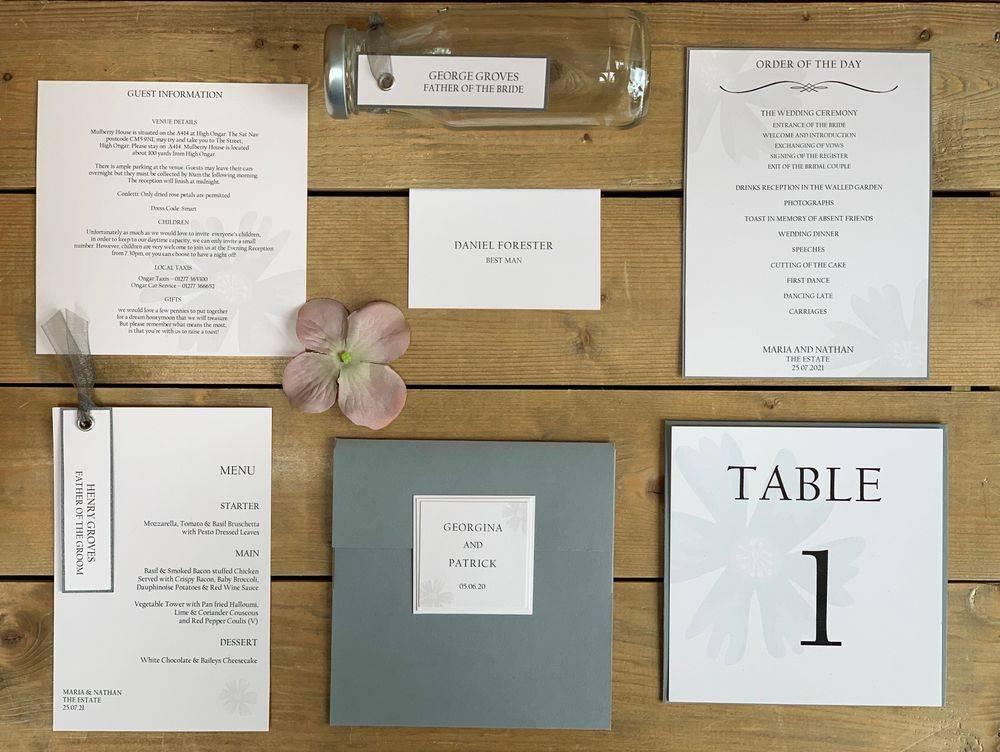 Grey and blush pink wedding stationery