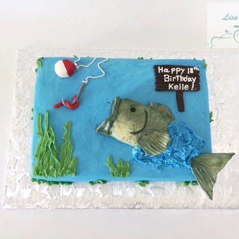 Bass Fishing Birthday Cake
