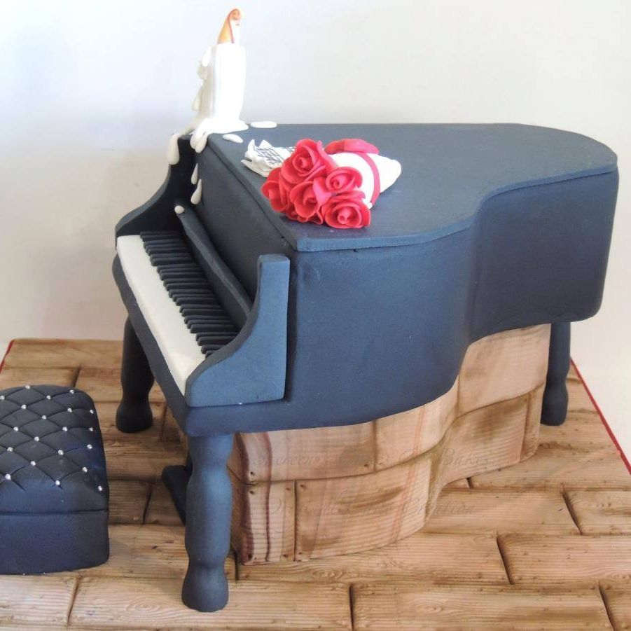 Grand Piano Roses Candle Birthday Celebration Novelty Cake