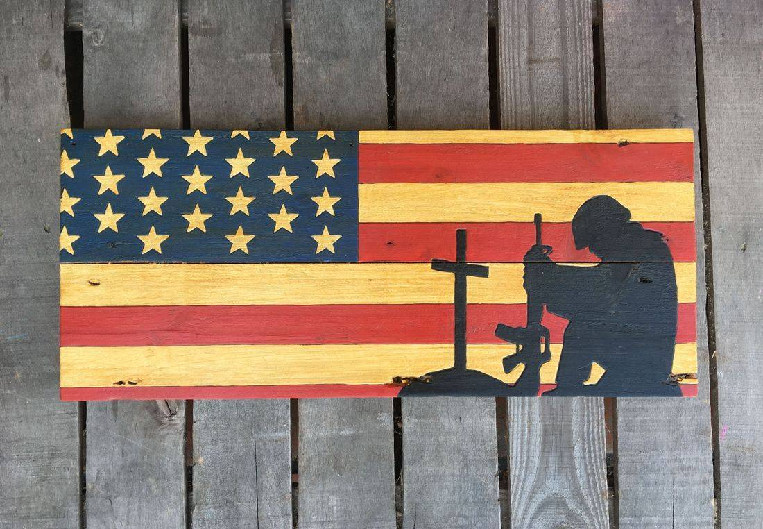 American Flag Handmade Reclaimed Pallet Wood Army Military Sign Decor
