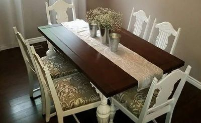 Refinished, Dining table, paint & stain combination