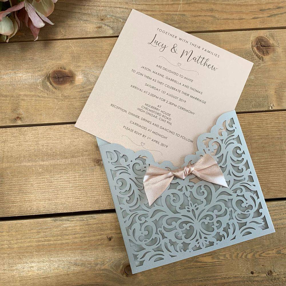 Laser cut wedding invitations in grey and blush (nude)