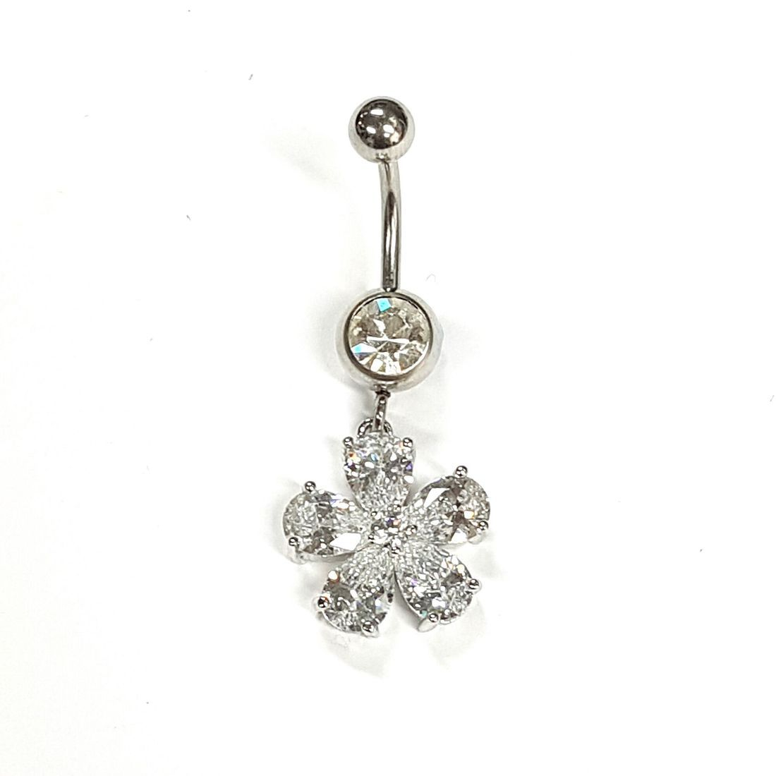1.6mm x 10mm Clear Large Crystal Flower Titanium Navel Bar  available at Kazbah online and our Leicester City Centre Shop
