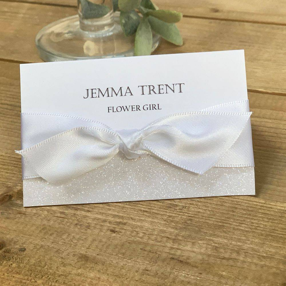 Wedding guest place names white and silver