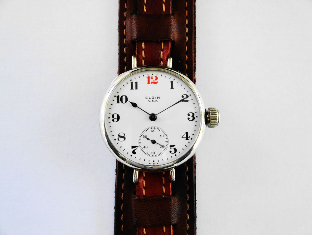 WWI Elgin RED 12 Trench Watch with 17 Jewels