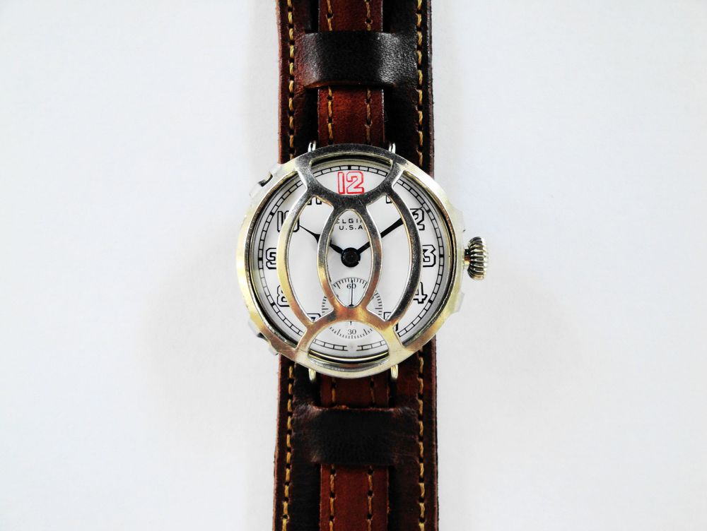 WWI Elgin Trench Watch, RED 12, 19 Jewels, Mealy DUO Crystal Guard