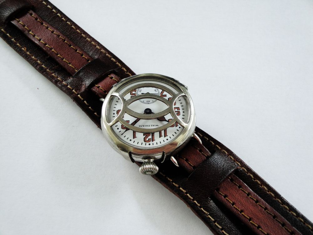 1918 WWI Offset Crown Waltham Trench Watch
