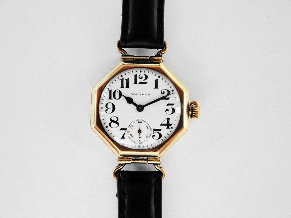 "1918 WWI Waltham ""Admiral Evans"" Swivel Lug Gold Filled Trench Watch"