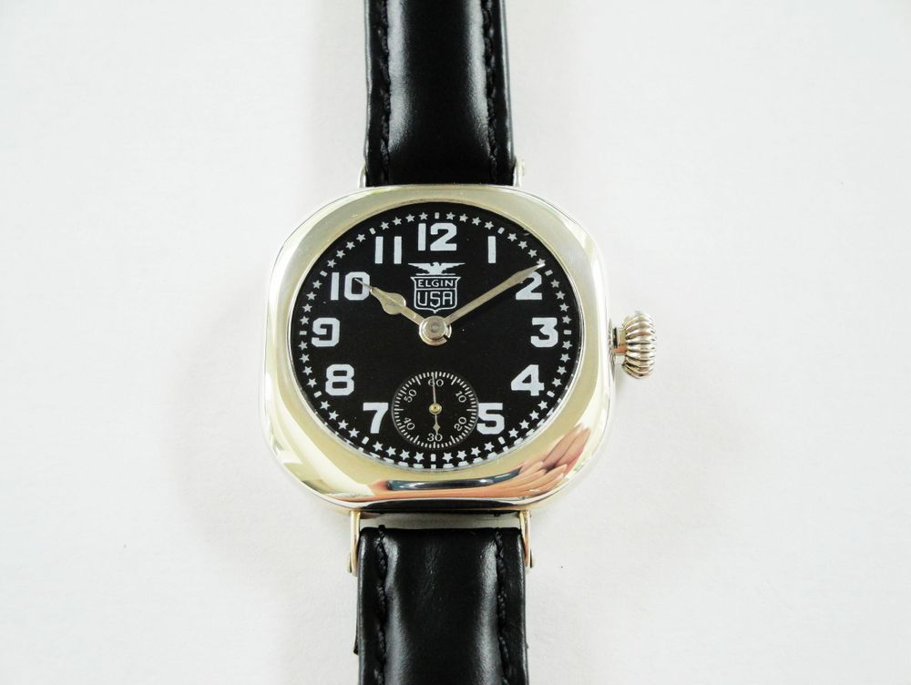 1918 WWI Elgin Admiral Benson Black Star Dial Trench Watch