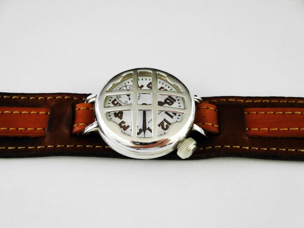 1917 WWI Offset Crown Waltham Trench Watch, Sterling Silver, 15 Jewels, Re-Lumed, CROSS Crystal Guard, Kitchener Strap