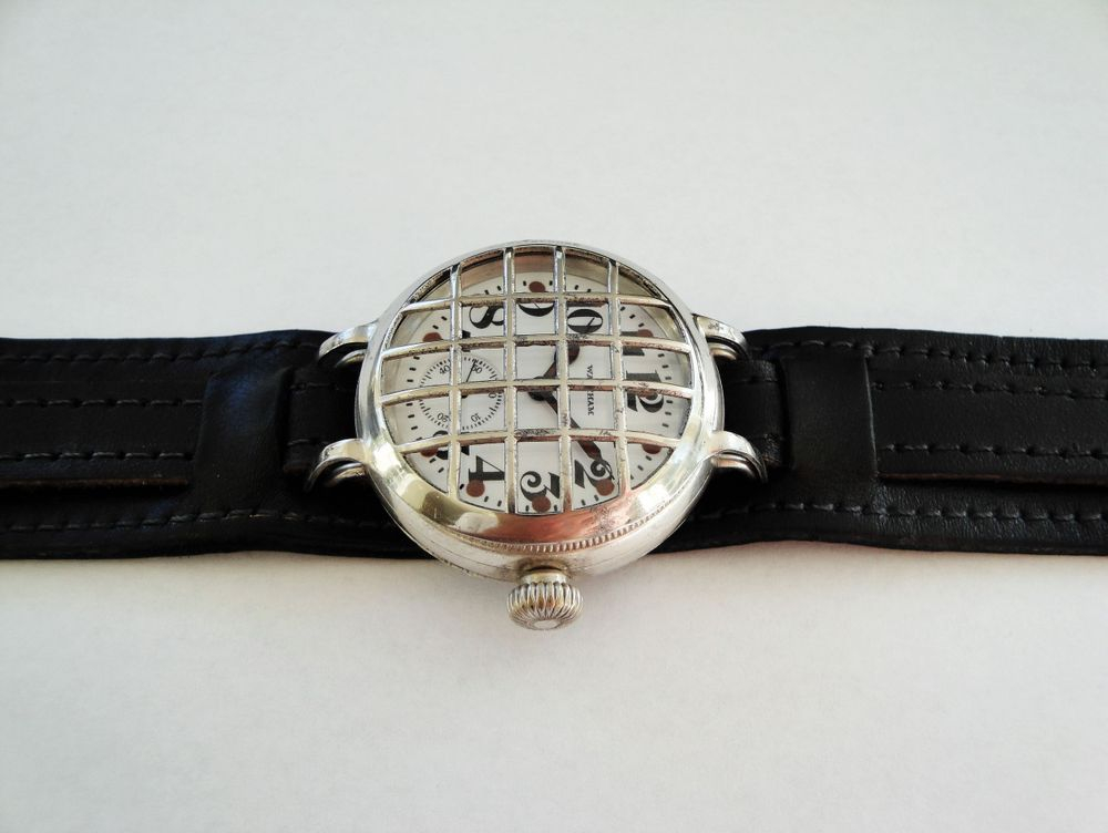 1915 WWI Waltham Trench Watch, Sterling Silver Dennison Case, BIG 36mm, Mesh Crystal Guard, Factory Crown, SEMI-HERMETIC, Coin Edging, 16 Jewels, BIG Size 0s Version, BOLD Arabic Military Dial, Factory Drilled Lume Dots, Re-Lumed, Leather Kitchener Strap