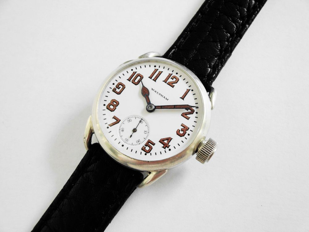 WWI Waltham Trench Watch, Sterling Silver Philadelphia Case, BIG Size 0s Version, 16mm Heavy Duty Lugs, Original Factory Oversized Sterling Silver Crown, 15 Jewels, Re-Lumed Enamel Shadow Box Military Dial & Hands