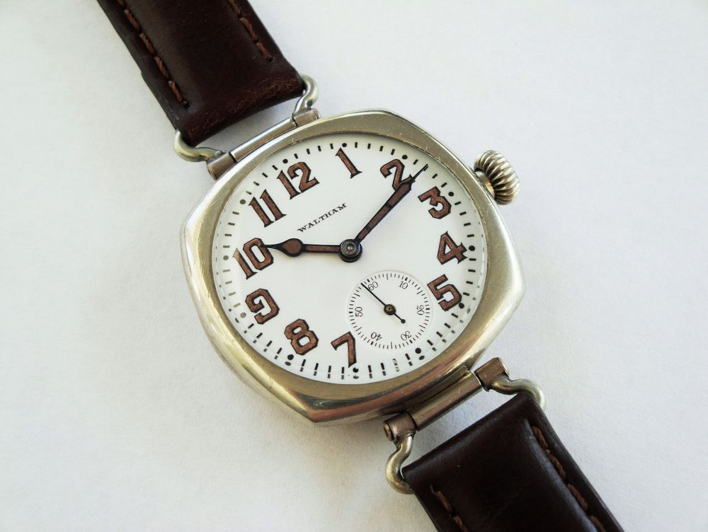 1918 WWI Waltham Trench Watch, Nickel Illinois Case, SWIVEL LUGS, 15 Jewels, BIG Size 0s Version, Original Factory Crown, Re-Lumed Enamel Shadow Box Military Dial & Hands, Dark Brown Leather Strap