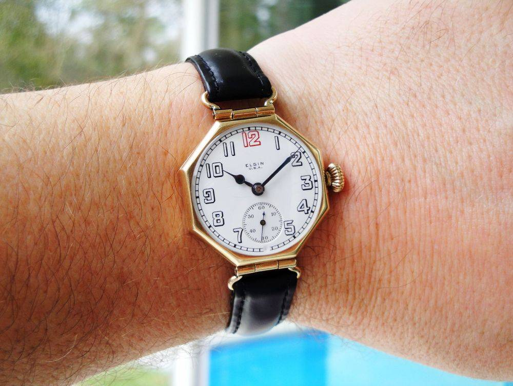 14k SOLID GOLD 1918 WWI Elgin RED 12 Admiral Evans Trench Watch