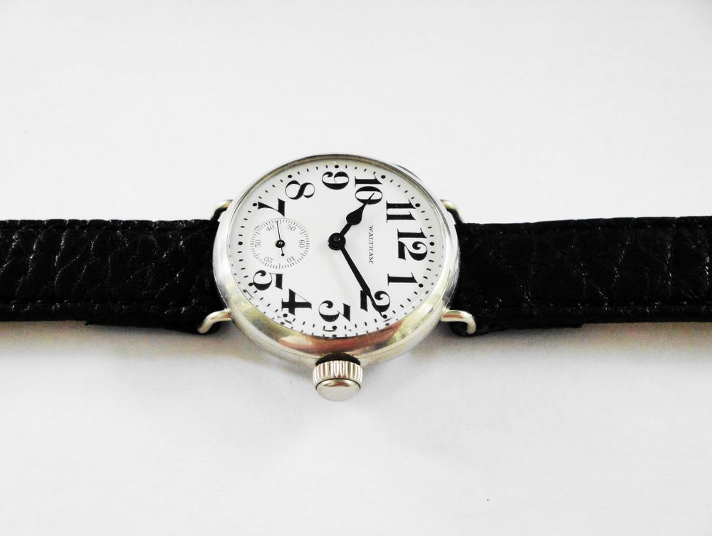 1915 WWI Waltham Trench Watch, Solid Nickel Wadsworth Case, Original Factory Crown, BIG Size 0s Version, 15 Jewels, BOLD Arabic Enamel Military Dial, Blue Steel Hands, 16mm Black Leather Strap