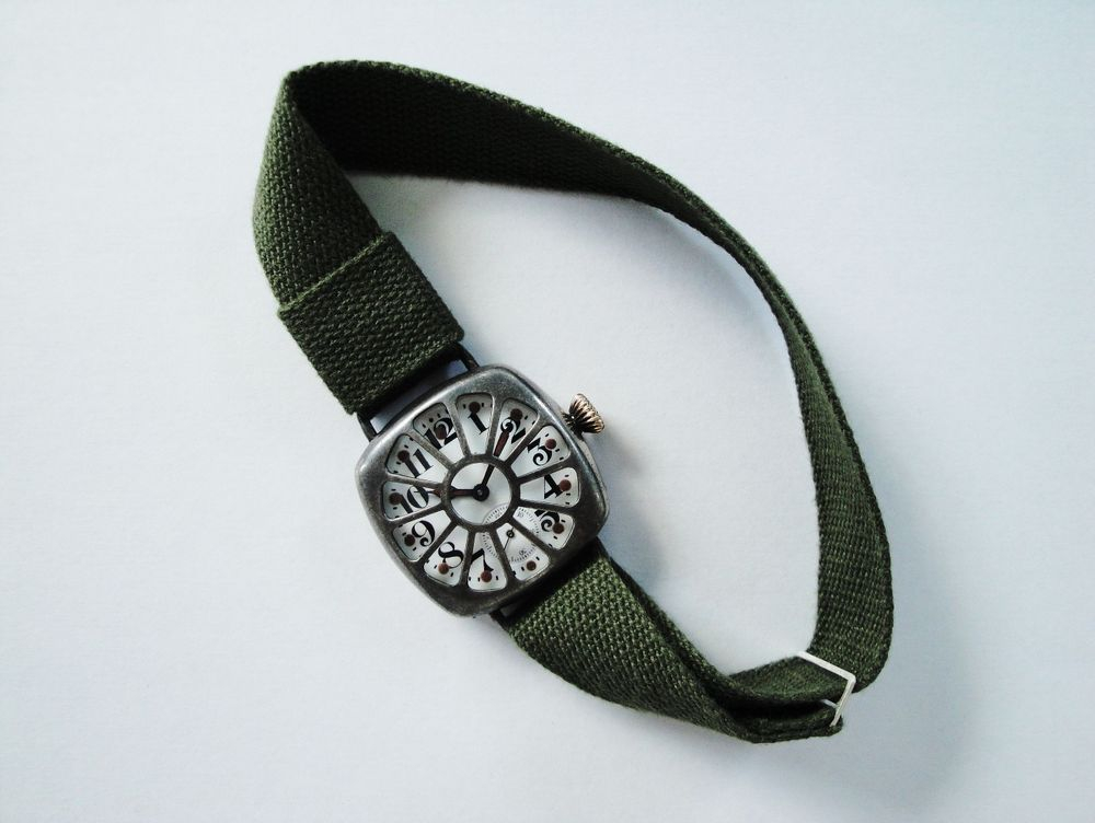 """1917 WWI Waltham Trench Watch, Dark Sterling Silver Fahys """"ARMORED"""" Military Case, INTEGRATED CRYSTAL GUARD, Factory Crown, BIG Size 0s Version, 15 Jewels, Re-Lumed BOLD Arabic Enamel Military Dial & Skeleton Hands, Green Khaki Strap, Sterling Silver Slider Clasp"""