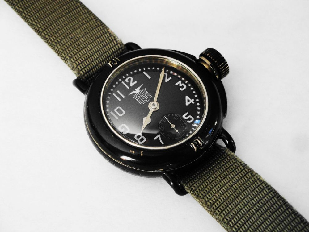 "1919 WWI Elgin Depollier ""Field & Marine"" Waterproof Watch"