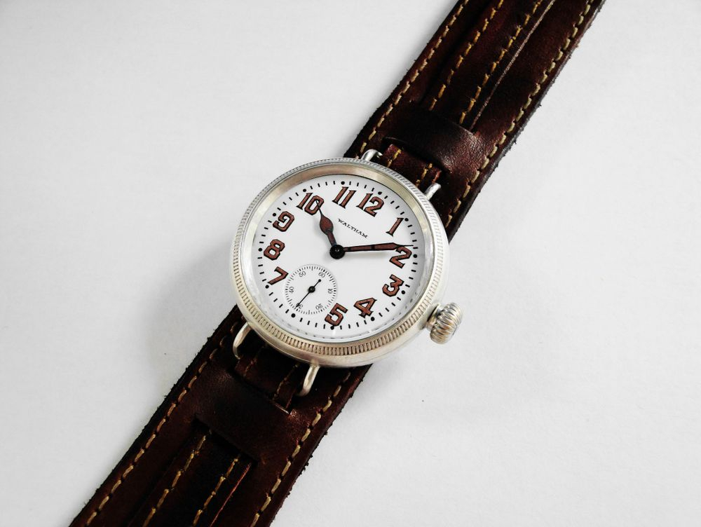 1915 WWI Waltham Trench Watch, 36mm Sterling Silver Dennison Case, SEMI-HERMETIC, COIN EDGING, 17 Jewel RIVERSIDE Movement, Solid Gold Movement Parts, Original Factory Crown, Re-Lumed Enamel Military Dial & Hands, Leather Kitchener Strap