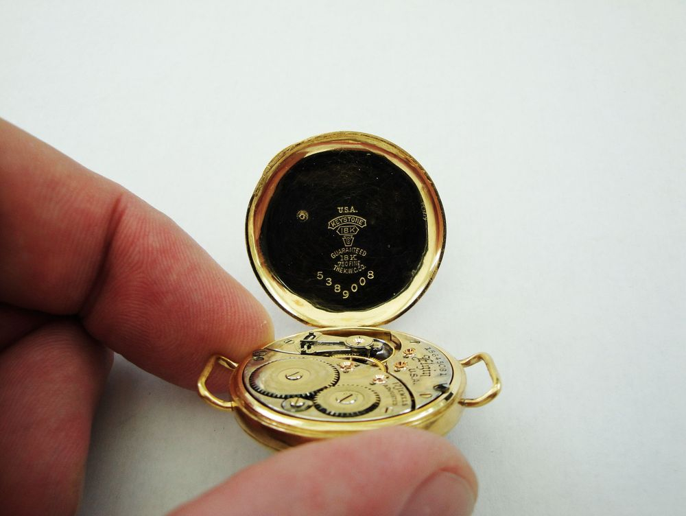 Circa 1917 WWI Elgin Trench Watch with 17 Jewels, This is the ONLY 18k SOLID GOLD American Made Trench Watch Case Known to Exist